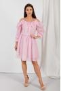 Rozkloszowana Sukienka z Odkrytymi Ramionami - Pudrowa