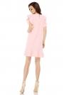 Różowa Prosta Wizytowa Sukienka z Falbankami