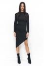 Czarna Sukienka Dzianinowa Asymetryczna na Długi Rękaw