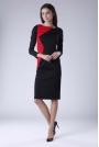 Czarno Czerwona Wizytowa Sukienka z  Kontrastowym Panelem