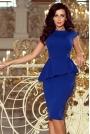 Chabrowa Elegancka Ołówkowa Sukienka Midi z Asymetryczną Baskinką