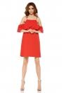 Czerwona Wyjątkowa Trapezowa Sukienka z Falbanką z Odkrytymi Ramionami