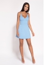 Niebieska Rozkloszowana Sukienka z Głębokim Dekoltem
