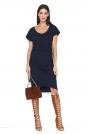 Granatowa Asymetryczna Sukienka z Marszczeniem na Boku