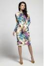 Kwiatowa Klasyczna Dopasowana Sukienka za Kolano