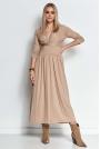 Długa Wiskozowa Sukienka o Kopertowym Dekolcie - Beżowa