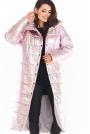 Połyskujący Pikowany Płaszcz Zapinany na Napy - Różowy
