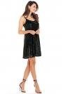 Czarna Sukienka na Cienkich Ramiączkach Wyszywana Cekinami