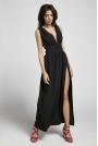 Czarna Maxi Sukienka z Dekoltem w Kształcie Litery V