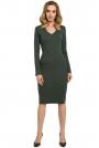 Zielona Dopasowana Sukienka z Prążkowanej Dzianiny z Dekoltem V