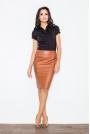 Klasyczna Elegancka Ołówkowa Spódnica w Kolorze Brązowym