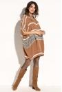 Karmelowa Swetrowa Oversizowa Sukienka -Tunika w Paski