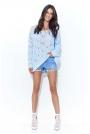 Błękitny Ażurowy Luźny Sweter z Szerokim Dekoltem