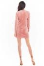 Ołówkowa Mini Sukienka Welurowa z Rozporkiem - Różowa