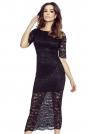 Czarna Ołówkowa Sukienka Midi z Koronki