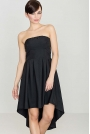 Modna Sukienka z Odkrytymi Ramionami Wydłuzonym Tyłem  Czarna