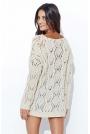 Beżowy Ażurowy Luźny Sweter z Szerokim Dekoltem