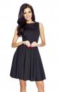 Czarna Elegancka Sukienka Koktajlowa z Rozkloszowanym Dołem