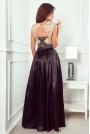 Czarna Wizytowa Długa Sukienka z Koroną