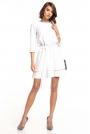 Biała Sukienka z Rozkloszowanym Podwójnym Dołem