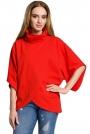 Czerwona Oversizowa Bluzka Kopertowa z Golfem