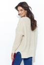 Beżowy Ażurowy Sweter Oversize z Warkoczami