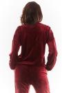Welurowa Bluza z Logowaną Taśmą - Bordowa
