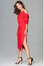 Czerwona Asymetryczna Sukienka z Kimonowym Rękawem