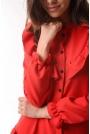 Czerwona Zwiewna Krótka Sukienka z Falbankami