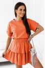 Komplet Dresowy Bluzka + Spódniczka - Pomarańczowy