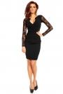 Czarna Koronkowa Sukienka z Założeniem Kopertowym