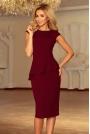 Bordowa Elegancka Ołówkowa Sukienka Midi z Asymetryczną Baskinką