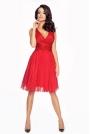 Czerwona Wyjątkowa Sukienka z Kopertowym Dekoltem z Tiulowym Dołem