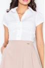 Biala Elegancka Koszula z Krótkim Rękawem