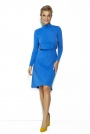 Niebieska Rozkloszowana Sukienka na Stójce z Wiązaniem
