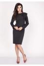 Czarna Sukienki Ołówkowa Midi z Falbaną na Ramieniu