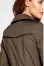 Khaki Płaszcz z Dwurzędowym Zapięciem