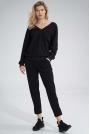Bawełniane Spodnie z Rozciętą Nogawką - Czarne
