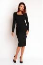 Czarna Elegancka Sukienka z Dekoltem Cargo z długim Rękawem