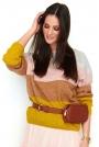 Jasnoszaro-Miodowy Sweter w Kolorowe Paski z Łódkowym Dekoltem