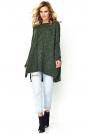 Luźny Sweter z Warkoczem na Przodzie - Khaki