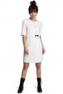 Ecru Minimalistyczna Sukienka O Linii A z Ozdobną Klamrą