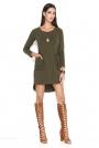 Khaki Asymetryczna Krótka Sukienka z Kieszeniami