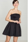 Czarna Wieczorowa sukienka Gorsetowa