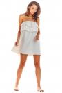 Beżowa Zwiewna Mini Sukienka z Hiszpańskim Dekoltem