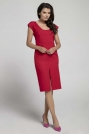 Czerwona Wyjściowa Dopasowana Sukienka z Przewiązanym Wycięciem na Plecach