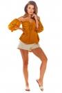 Kamelowa  Bluzka Carmen z Długim Rękawem
