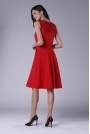 Czerwona Rozkloszowana Sukienka Midi z Prześwitującym Karczkiem