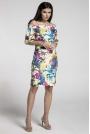 Kwiatowa Ołówkowa Sukienka przed Kolano z Dekoltem Carmen