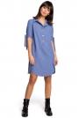 Niebieska Koszulowa Sukienka Tunika z Wiązaniem na Rękawach